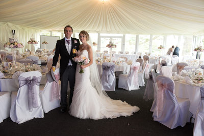 Bride & Groom in marquee at Nailcote Hall.
