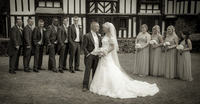Bridal party with the Bride & Groom at Nailcote Hall.