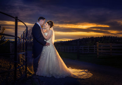 Wedding sunset at Swallows Nest Barn