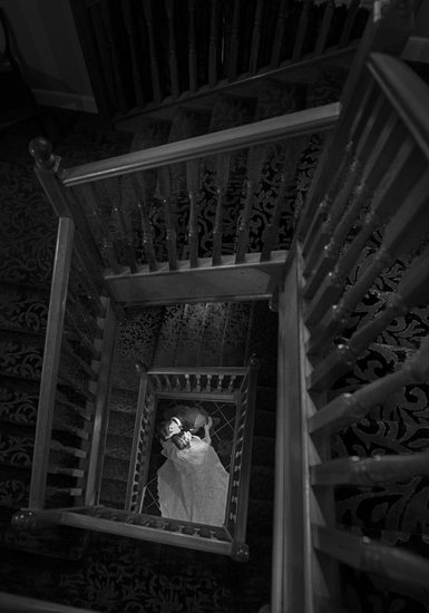 Stairs with Bride & Groom
