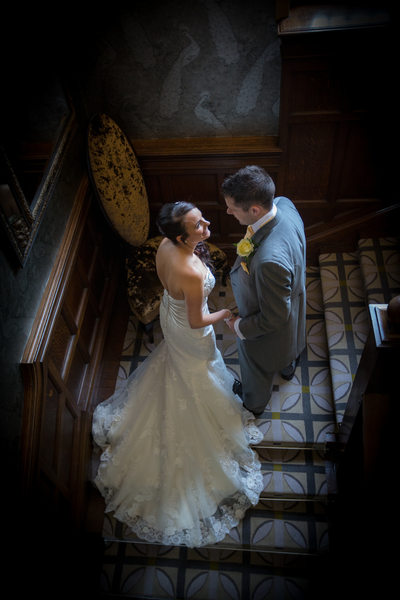Bride & Groom together photographed in Moxhull Hall Hotel.