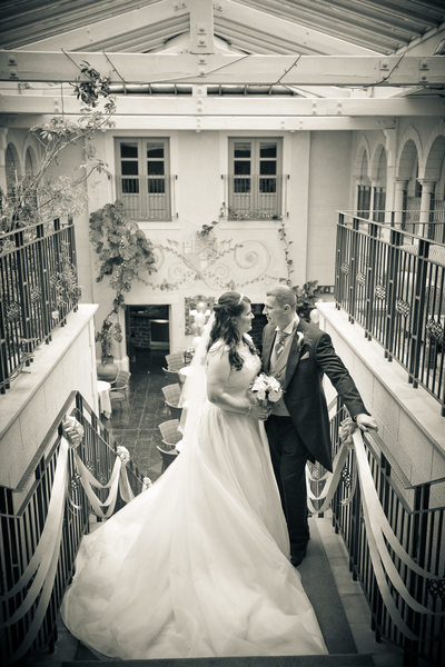 Top of the stairs at Nailcote Hall Wedding.