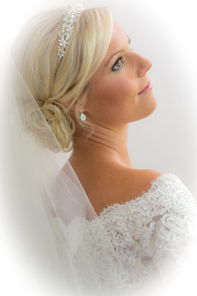 Bride in white at Nailcote Hall.