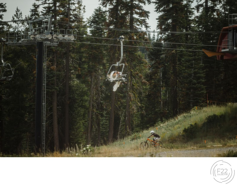 Lake Tahoe Wedding Photography: Wedding Couple Ski Lift