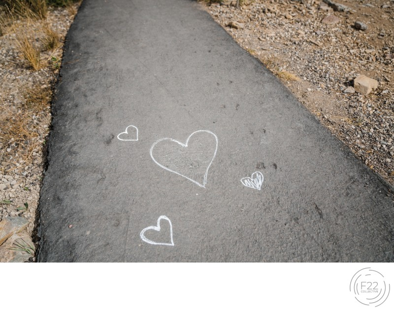 Lake Tahoe Wedding Photography: Chalk Hearts Sidewalk