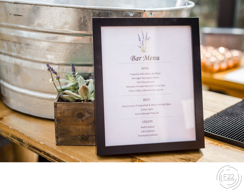 Top Zephyr Lodge Wedding Photographer: Bar Menu