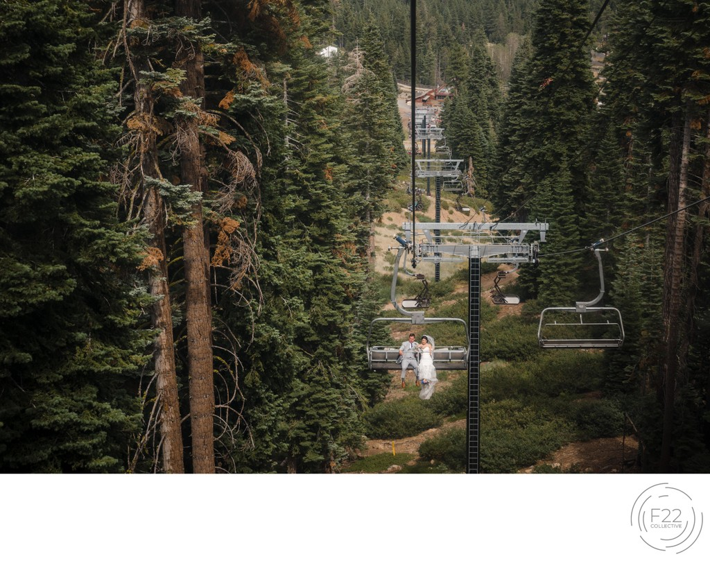 Lake Tahoe Wedding Photography: Couple Ski Lift