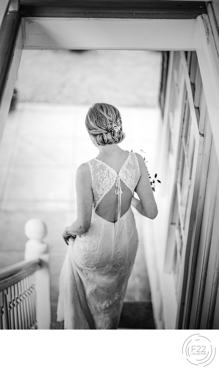 Bride on Stairs Best Wedding Photographers Sacramento