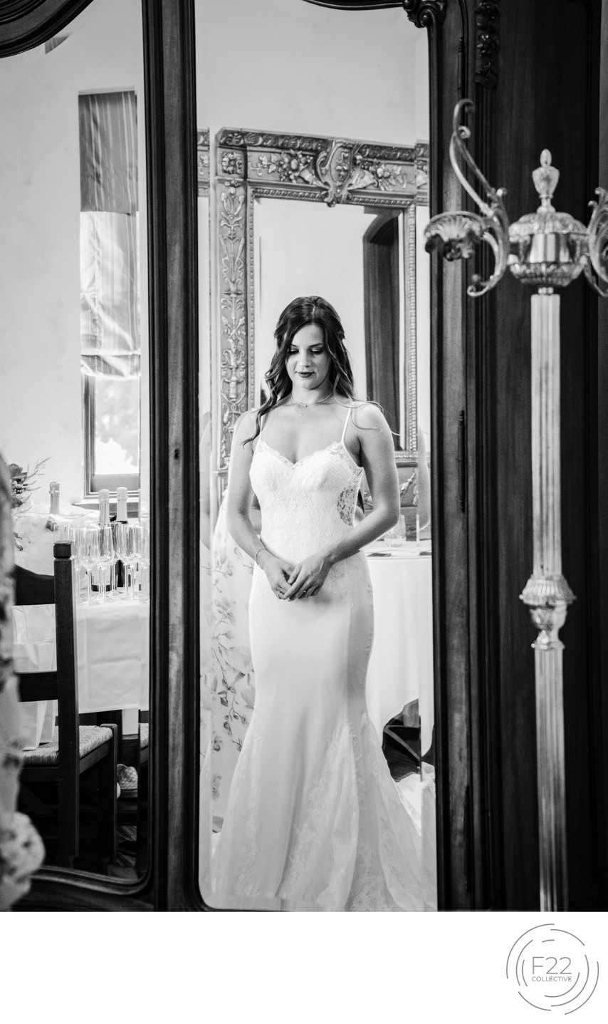 Best Wedding Photographers Sacramento Bride in Mirror