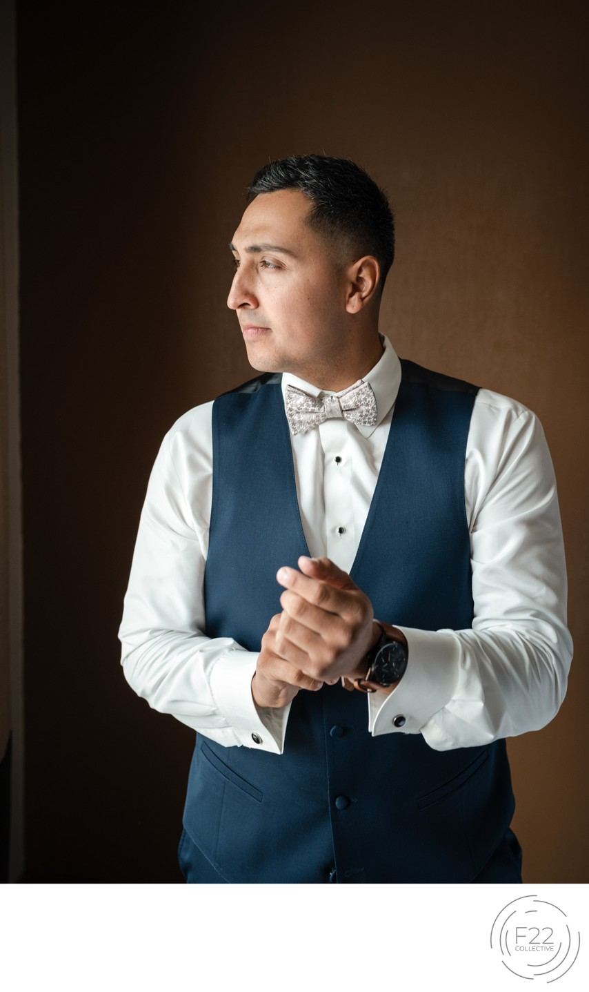 Indoor Groom Portrait Wedding Photographers Sacramento