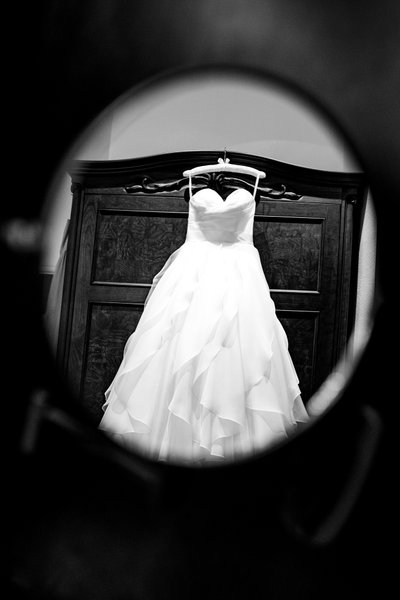 Sacramento Wedding Photographer Dress in Mirror