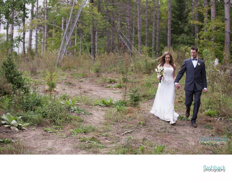 Wedding Couple in Woodland Scenery
