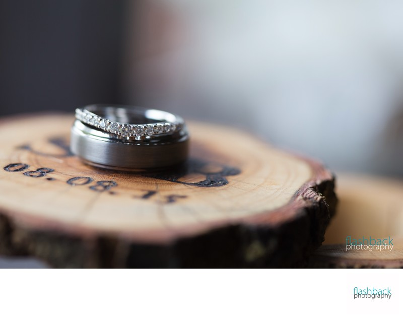 Engagement Ring on Wood Coaster