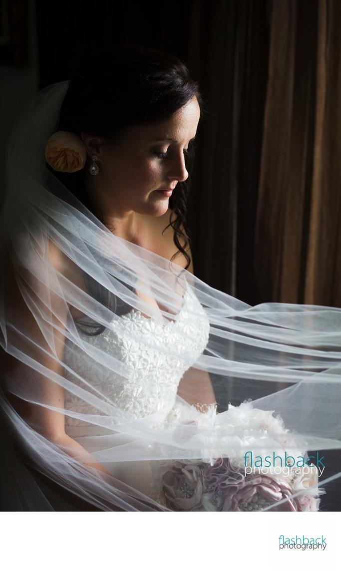 Translucent Veil Sweeps Beautiful Bride