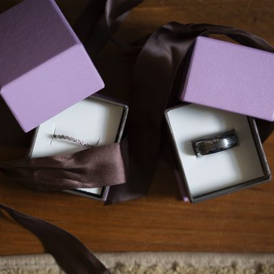 Purple and ribbon Ring Boxes