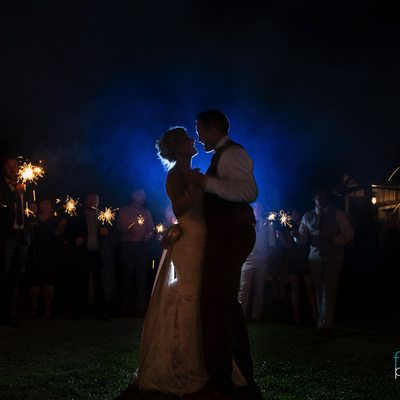 Sparkling night wedding portrait