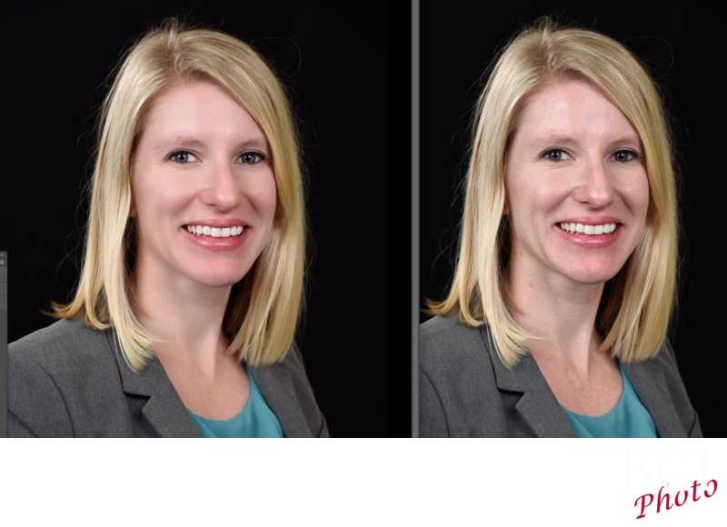 Headshot before and after facial skin retouching