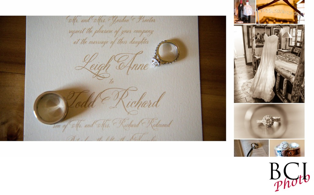 A wedding album page featuring closeup of wedding rings