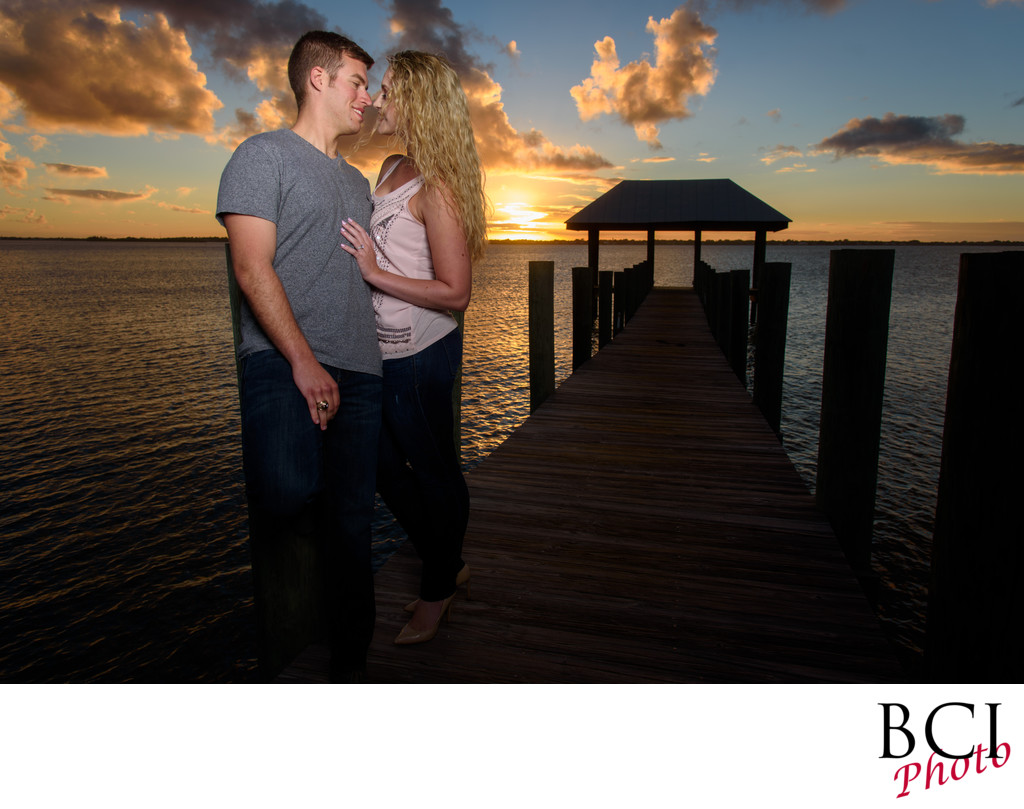 Sunset engagement session images at the House of Refuge