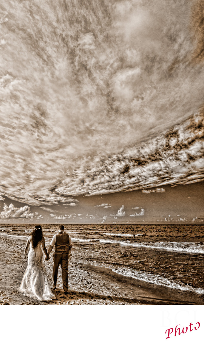 Infrared Wedding Image of bride and groom on a Beach