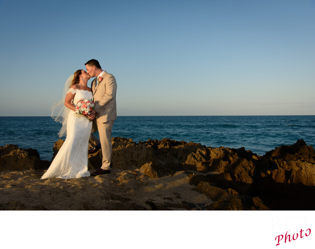 Wedding photos on the Beach at the House of Refuge.