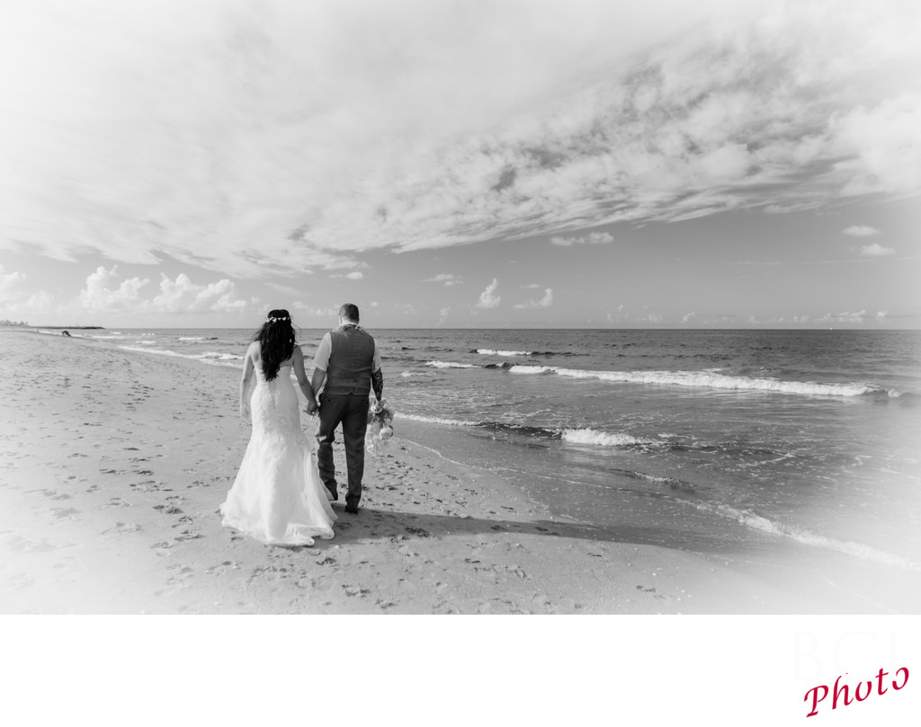 Infrared Wedding Image on the beach in Florida
