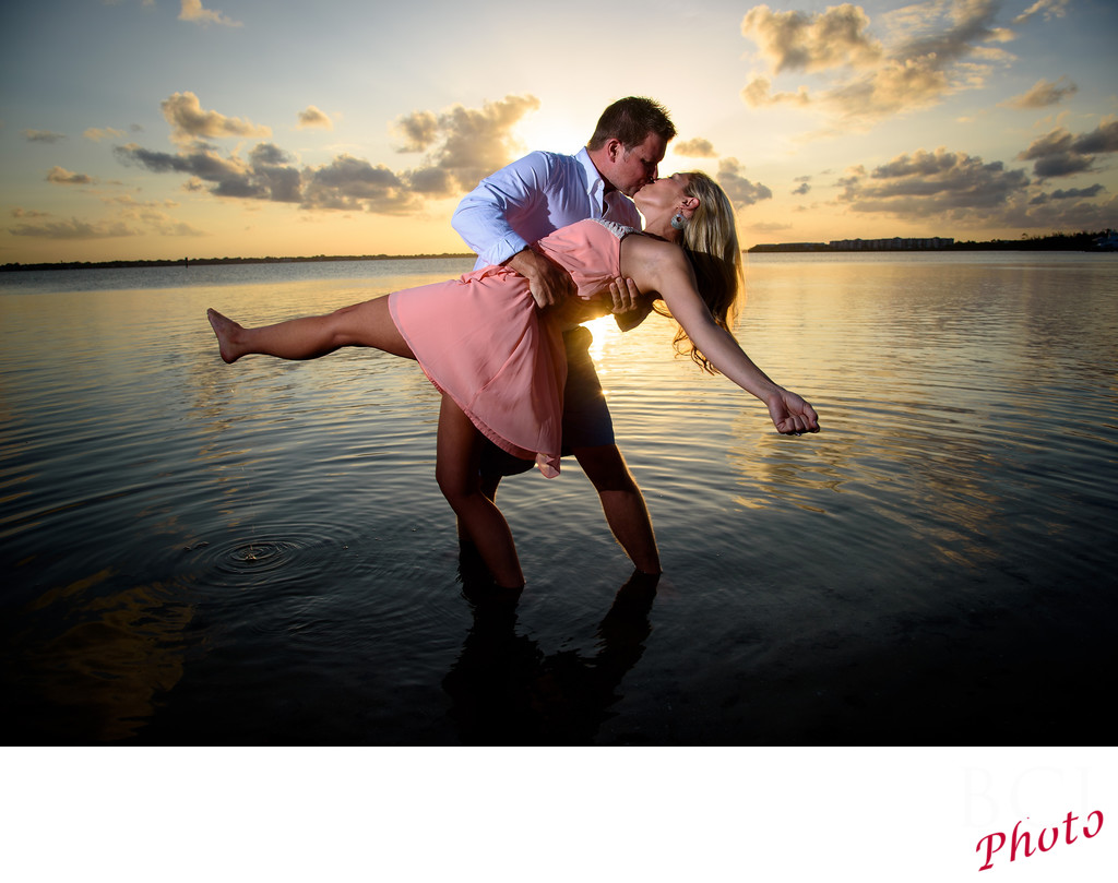 Sunset Dip during an engagement session in Florida