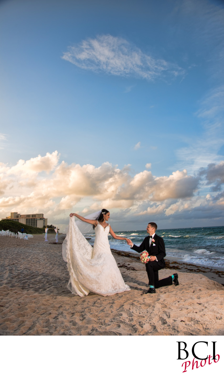 First wedding dance on the beach portrait