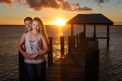 Dramatic sunset engagement session images