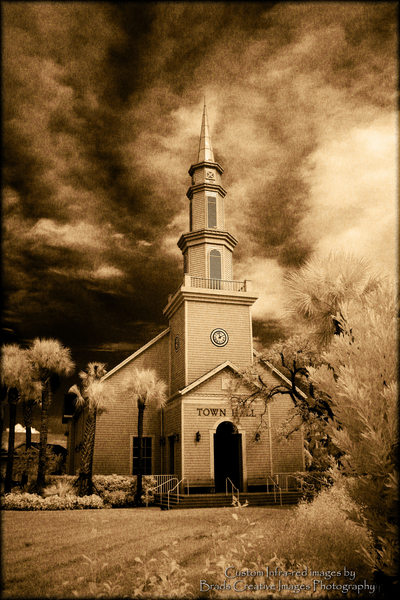 Infrared photo of Tradition Town Hall in Sepia