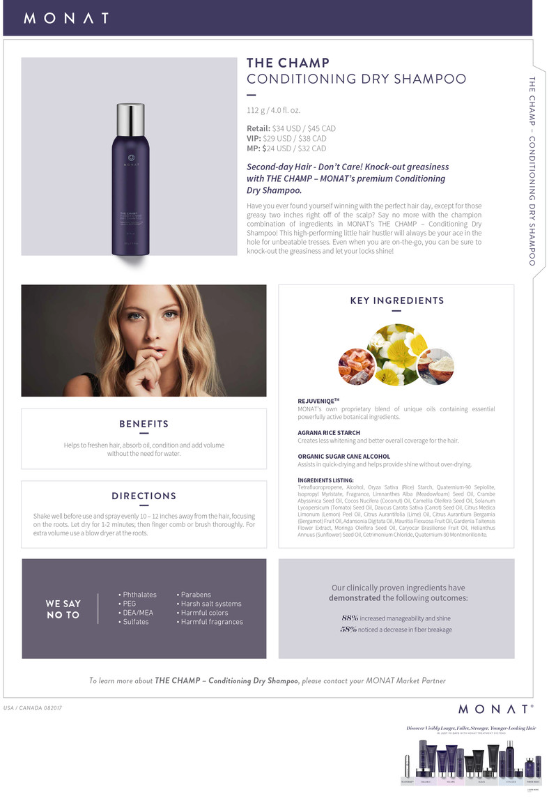 Infosheet_The Champ Conditioning Dry Shampoo_082017