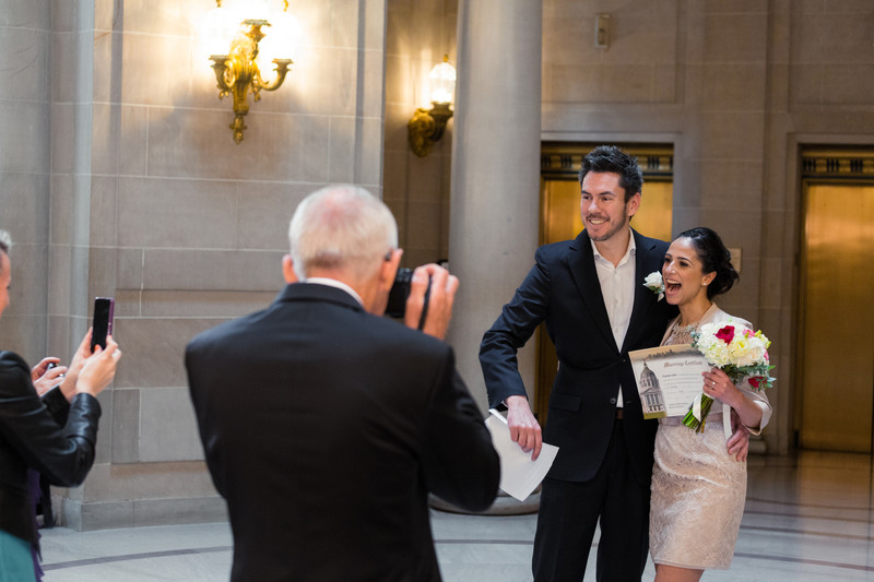 Candid moment after the ceremony in the Rotunda