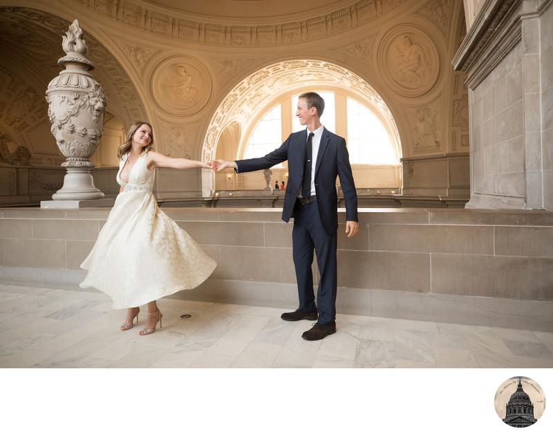 Couple San Francisco City Hall Fourth Floor Wedding San