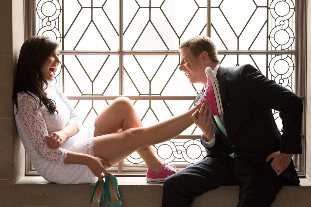 Bride and groom with converse shoes