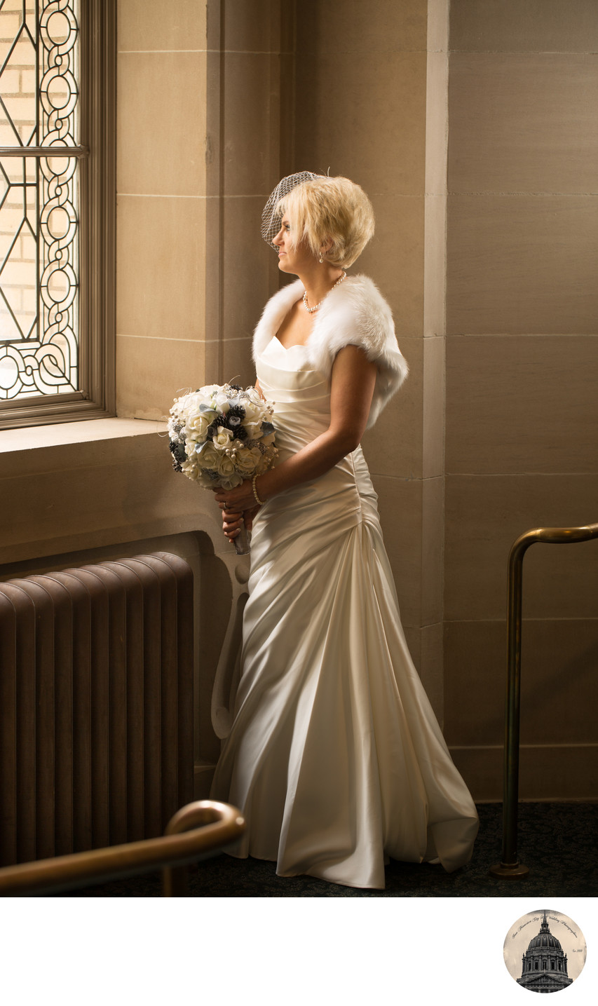 city hall winter wedding bride