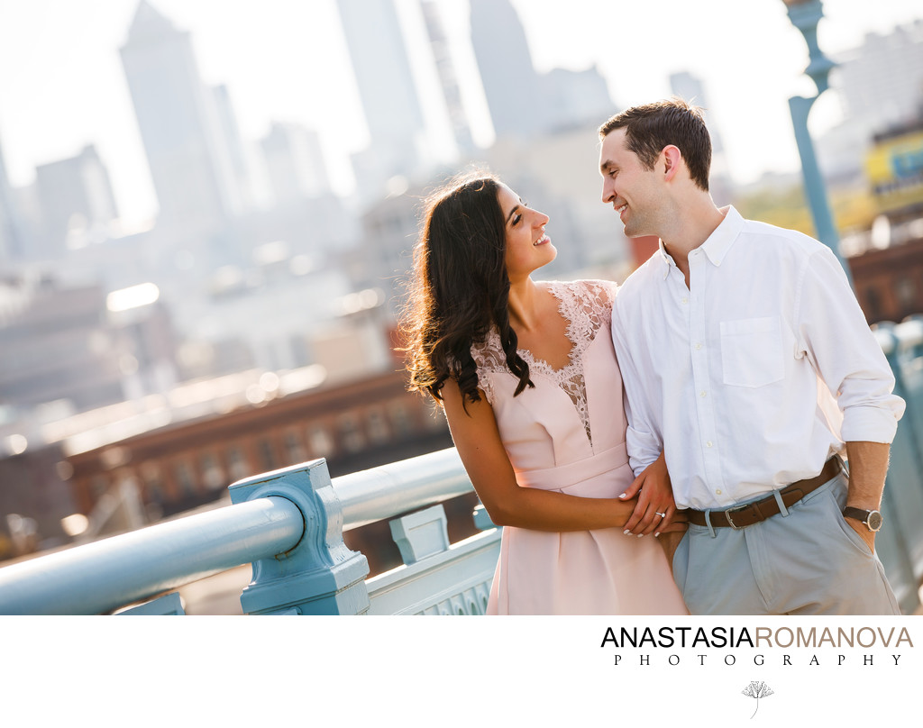 Philadelphia Ben Franklin Bridge Engagement