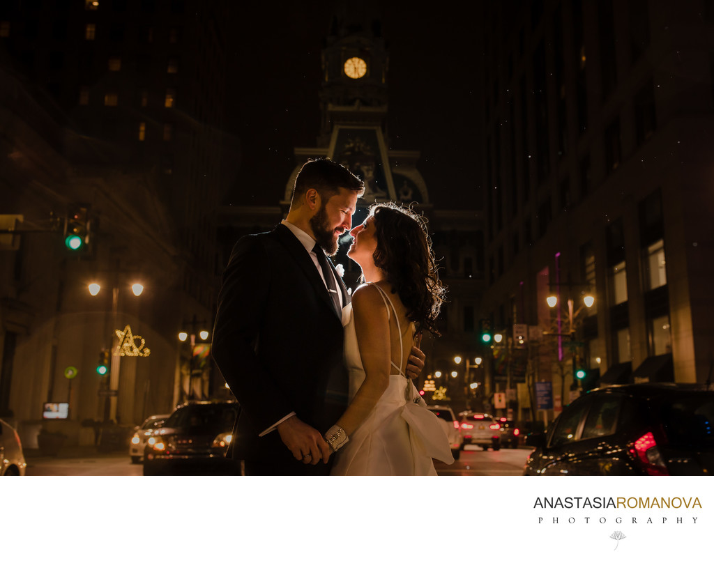 Philadelphia Nighttime Wedding Photos