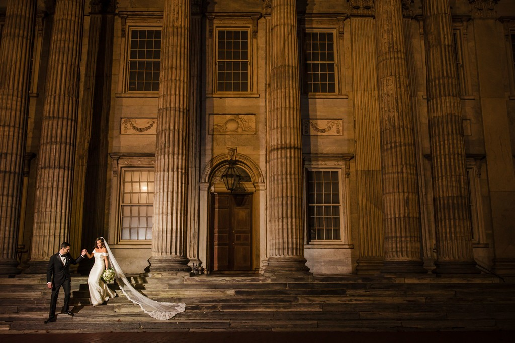 Nighttime wedding photo at 1st National Bank in Philly