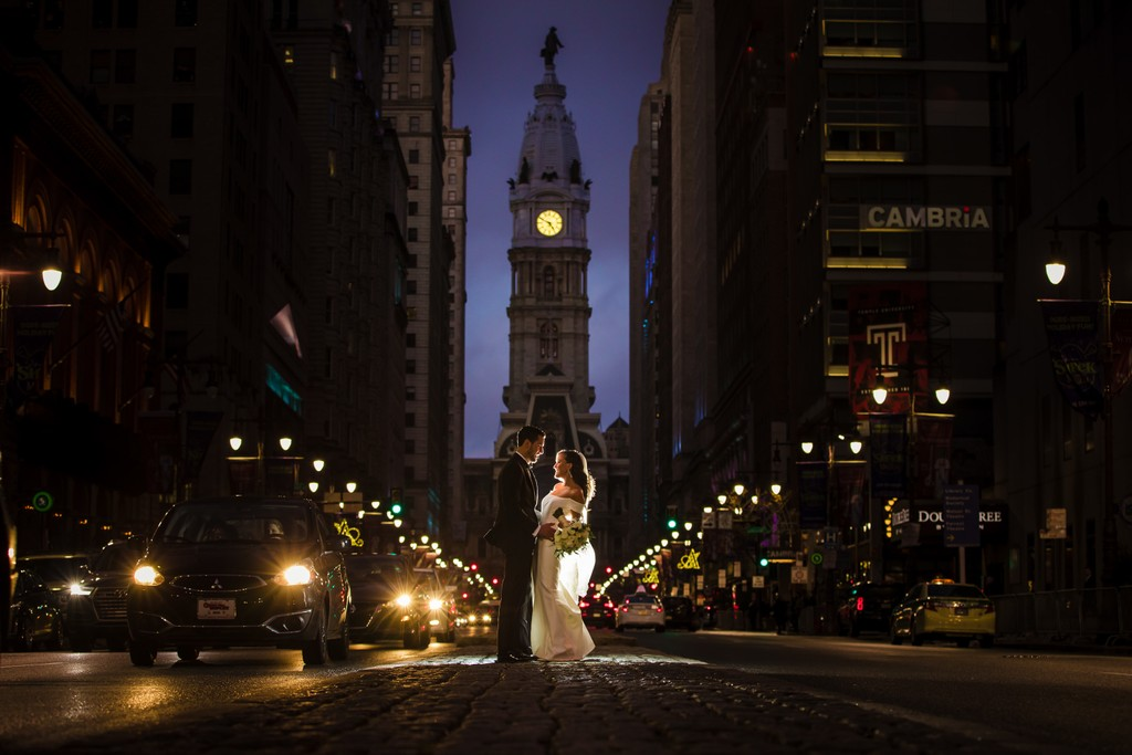 Philadelphia nighttime Broad Street Photo