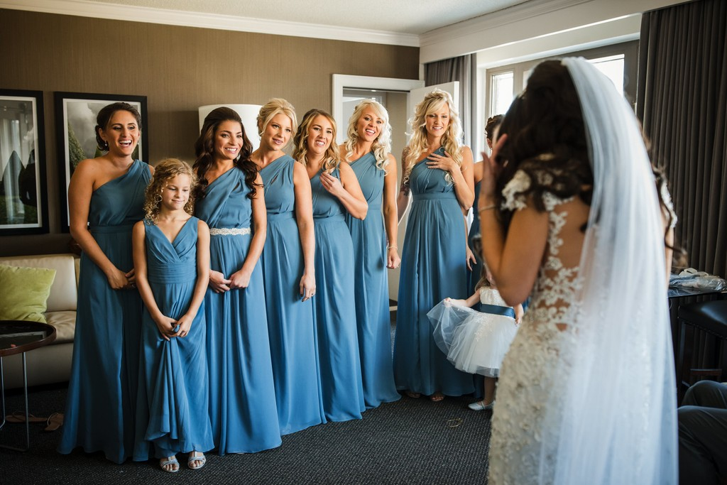 First Look with Bridesmaids at Logan Hotel in Philly