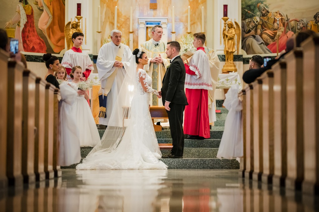 Wedding Vows At St Monica Catholic Church in Philly