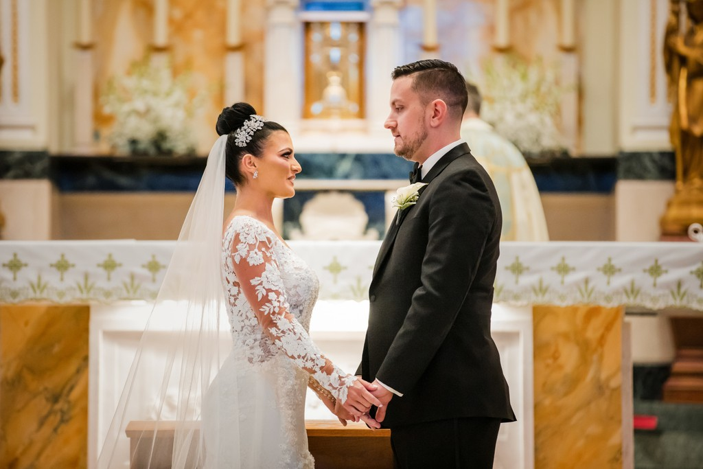 St Monica Catholic Church Bride and Groom Photo