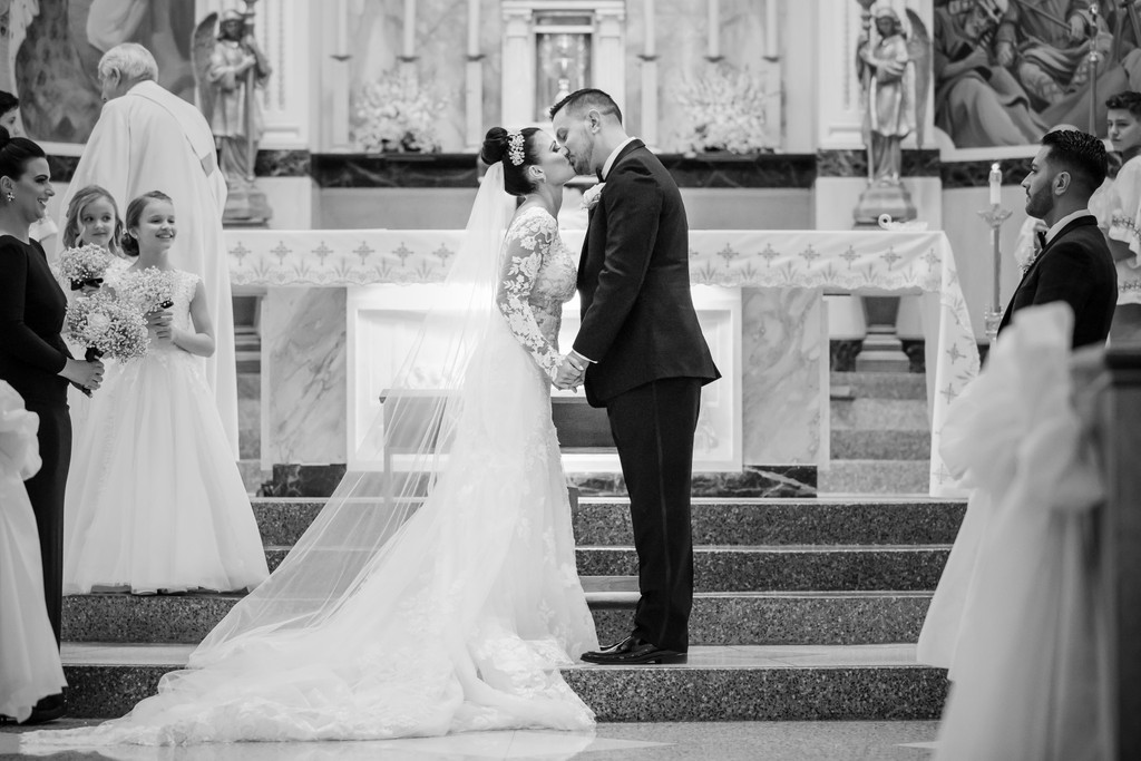St Monica Catholic Church Philly Wedding First Kiss