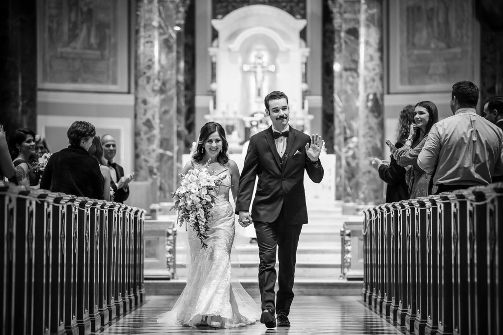 Wedding ceremony recessional at Cathedral Basilica Philly