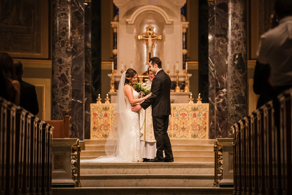 Bride and Groom At Cathedral Basilica in Philly