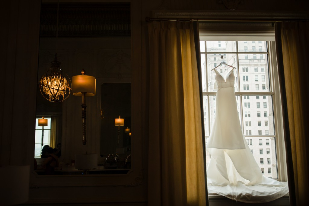Wedding Dress Photo At Crystal Tea Room, Philadelphia