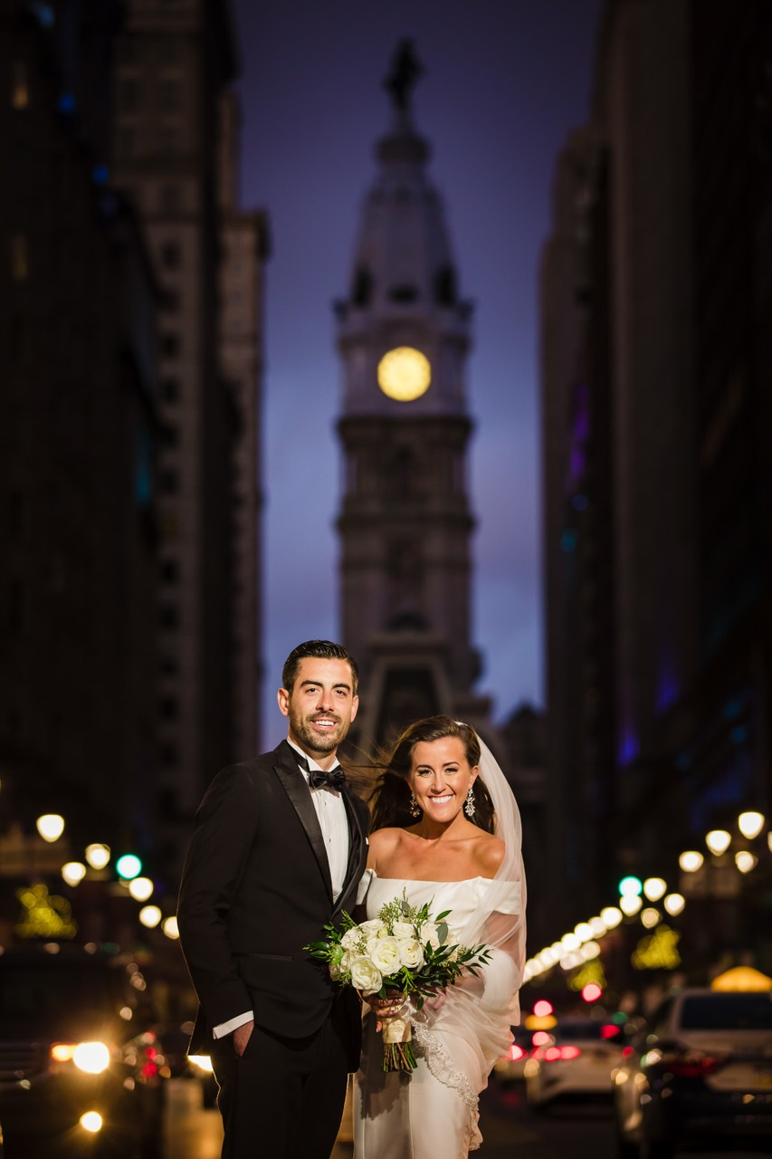 Wedding Pictures at Nighttime in Philadelphia