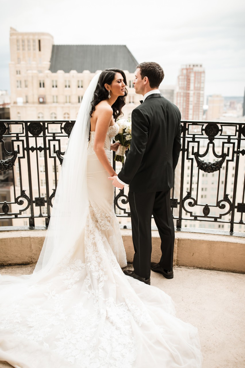 Bride and groom at the Bellevue Hotel Philadelphia