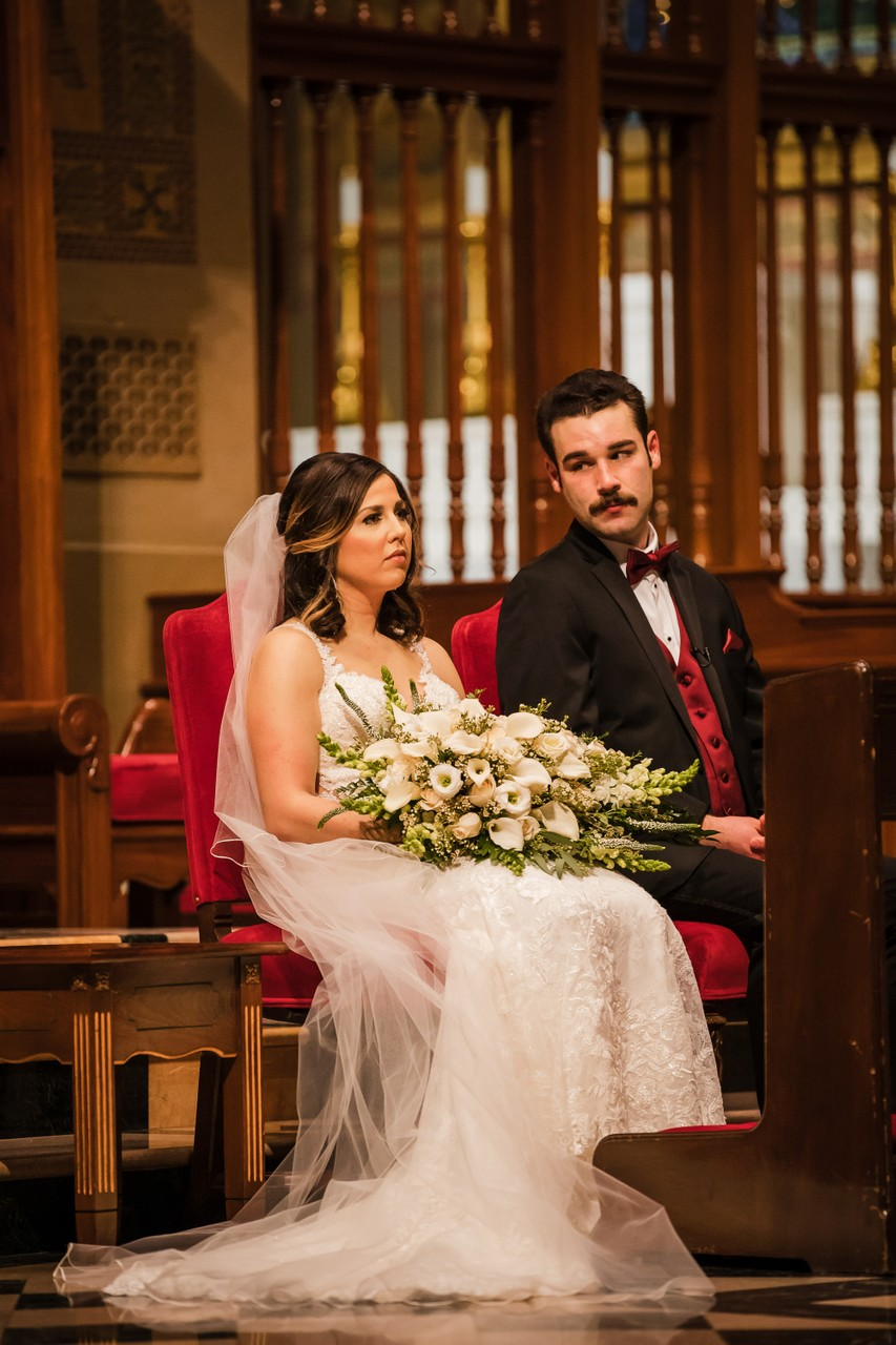 Bride and Groom photo at Cathedral Basilica