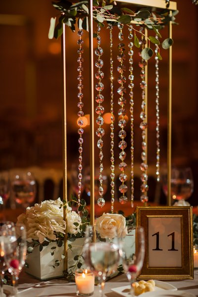 Hanging crystals centerpieces at Cescaphe Ballroom